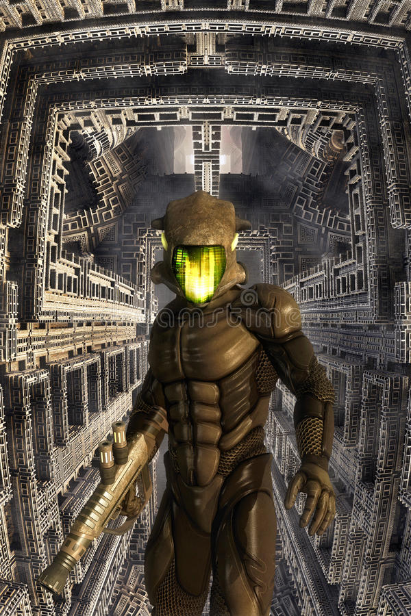 Soldat futuriste et bâtiment géant illustration libre de droits