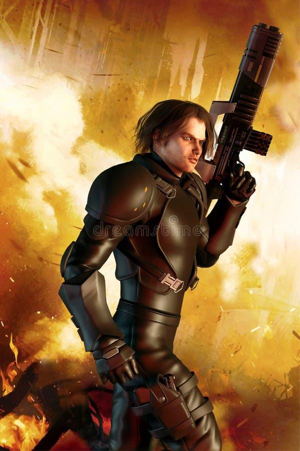 Soldat futuriste et ville brûlante illustration de vecteur