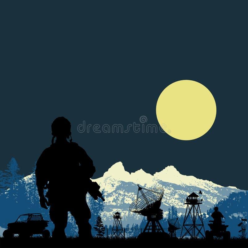 Soldat gardant le satnav bas dans la forêt au backg de montagne illustration de vecteur