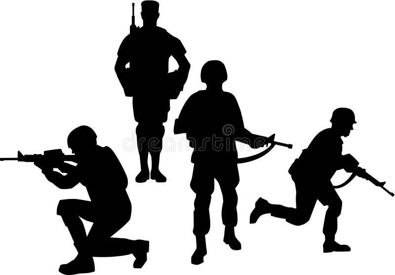 Soldat Group Silhouettes vektor illustrationer