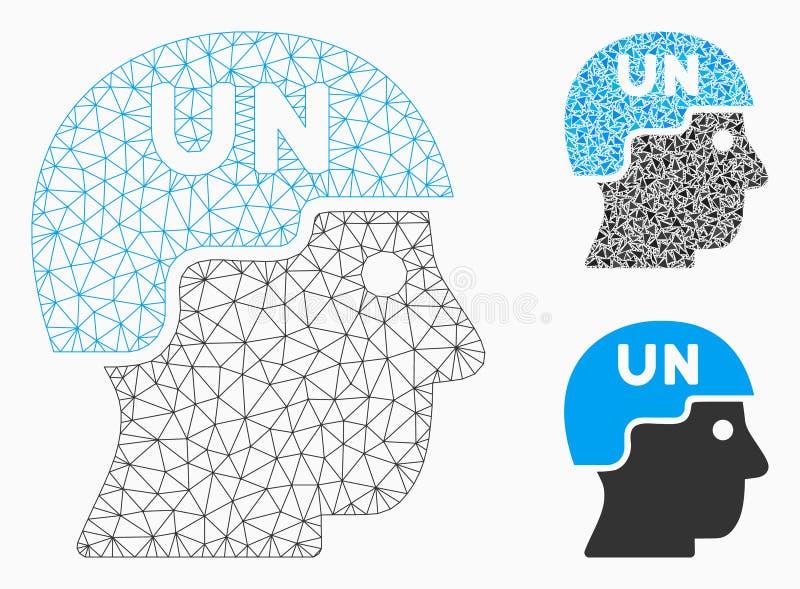Soldat Helmet Vector Mesh Network Model des Nations Unies et icône de mosaïque de triangle illustration de vecteur
