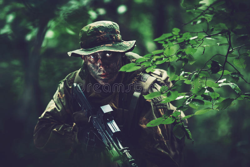 Soldat i skogområde på skymning fotografering för bildbyråer