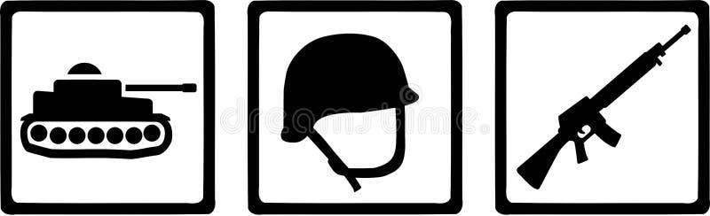 Soldat Icons Tank Helmet vektor illustrationer