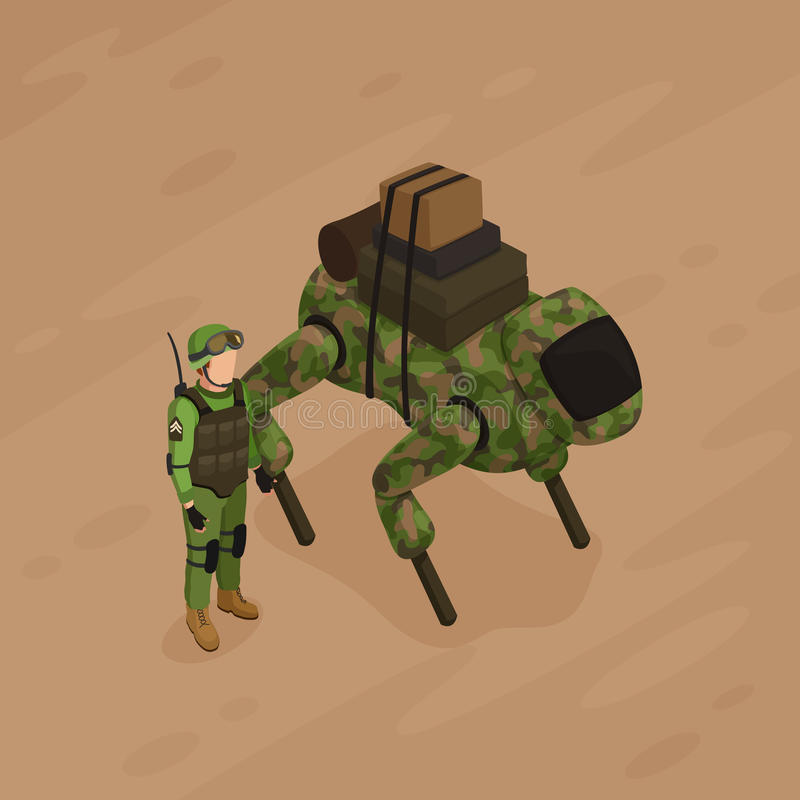 Soldat Isometric Illustration de robot illustration stock