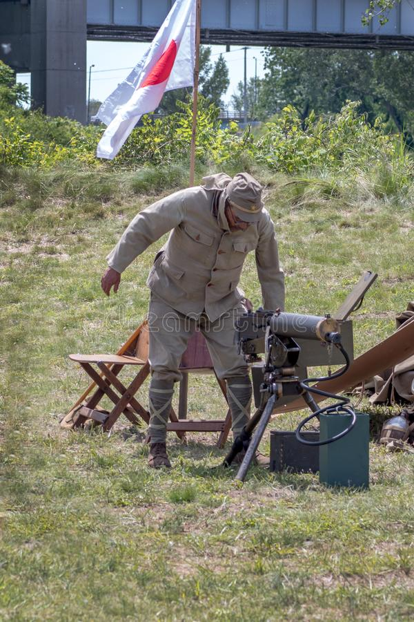 Soldat japonais à une reconstitution de WW 2 images stock