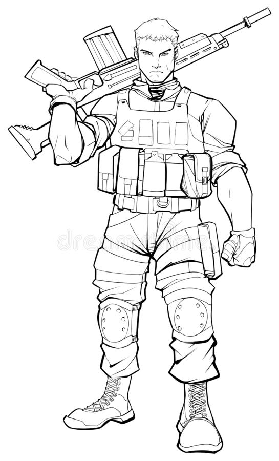 Soldat Line Art royaltyfri illustrationer