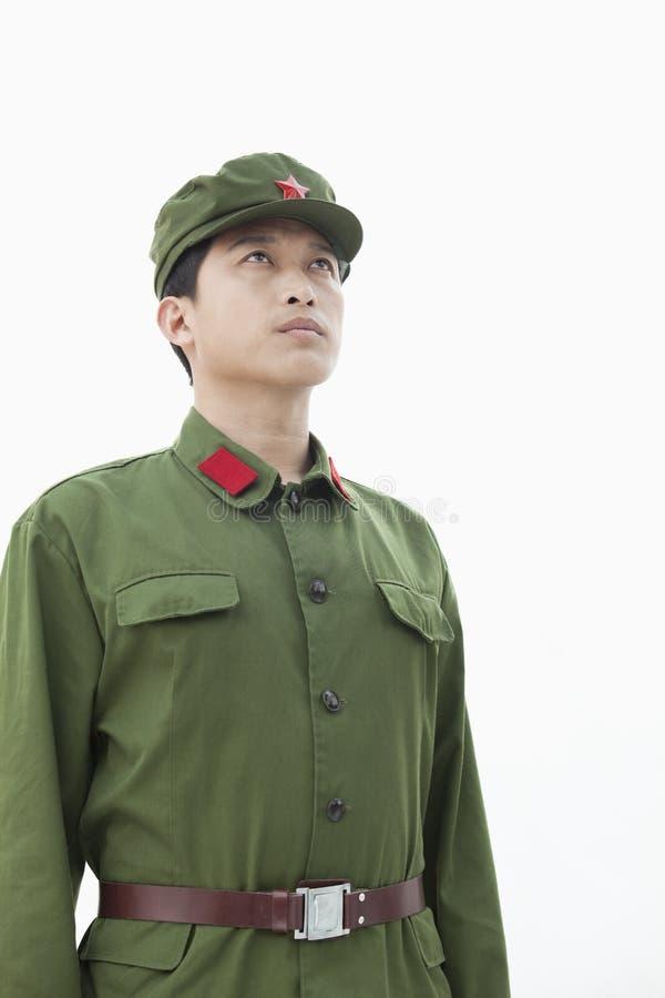 Soldat Looking Towards Sky royaltyfria foton