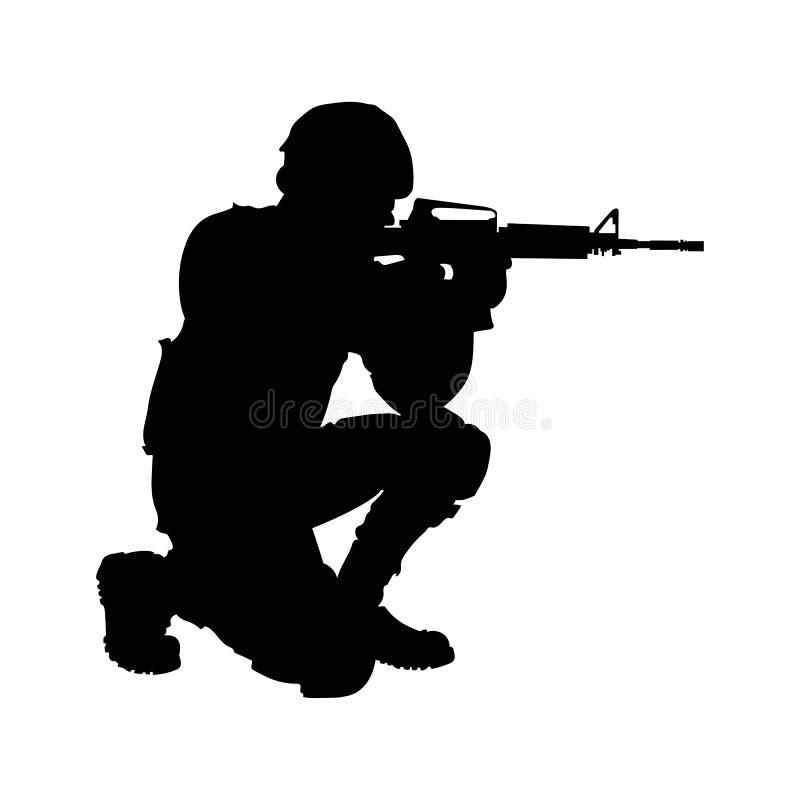 Soldat med ett vapen, enkel plan bild vektor illustrationer