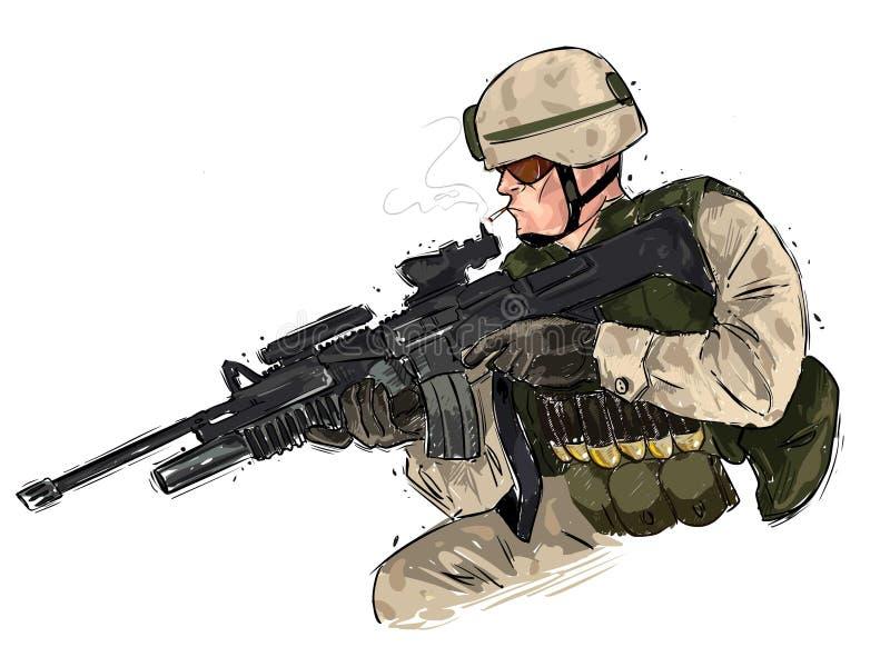 Soldat med geväret stock illustrationer