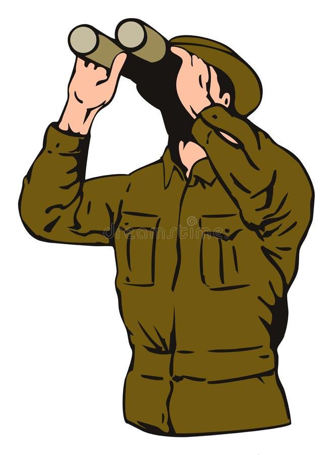 Soldat mit Binokeln stock abbildung