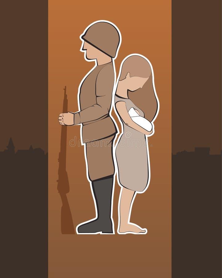 Soldat mit Frau und Baby stock abbildung