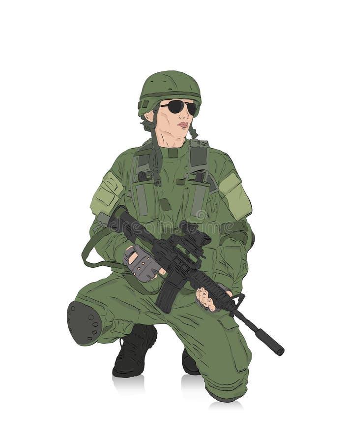 Soldat mit Gewehr vektor abbildung