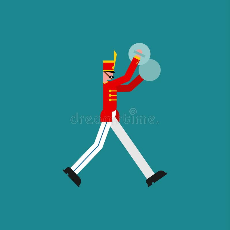 Soldat och cymbaler Soldat med musikinstrumentet Militär musikband stock illustrationer
