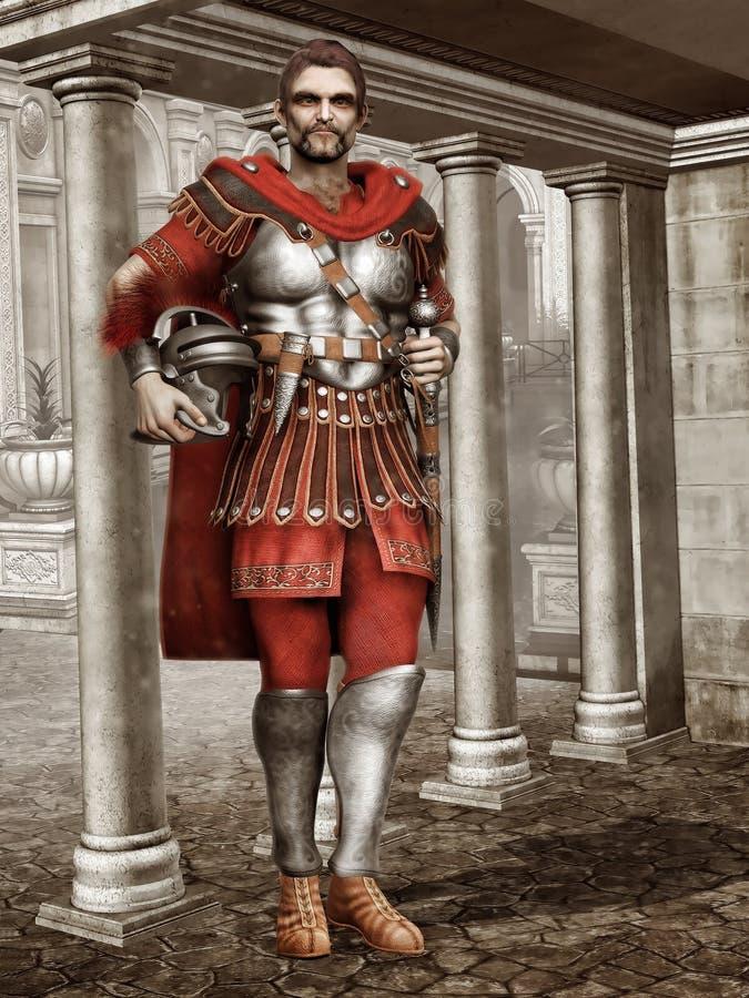 Soldat romain antique dans un temple illustration stock