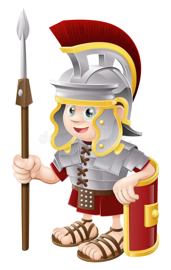 Soldat romain de dessin animé illustration de vecteur