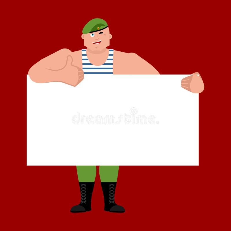 Soldat russe tenant le blanc de bannière Troopsand aéroporté b blanc illustration de vecteur