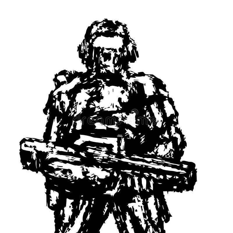 Soldat se tenant avec le fusil d'assaut Dessins de vecteur illustration de vecteur