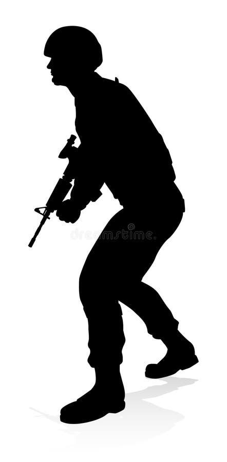 Soldat Silhouette stock illustrationer
