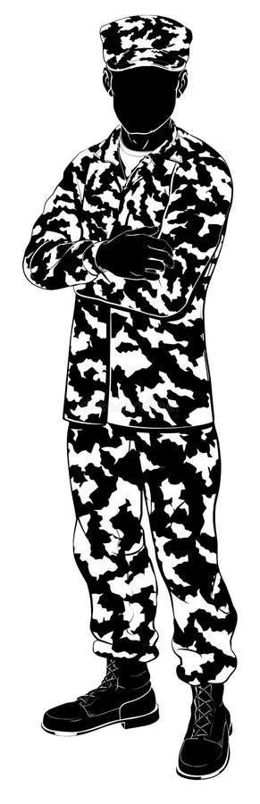 Soldat Silhouette stock abbildung