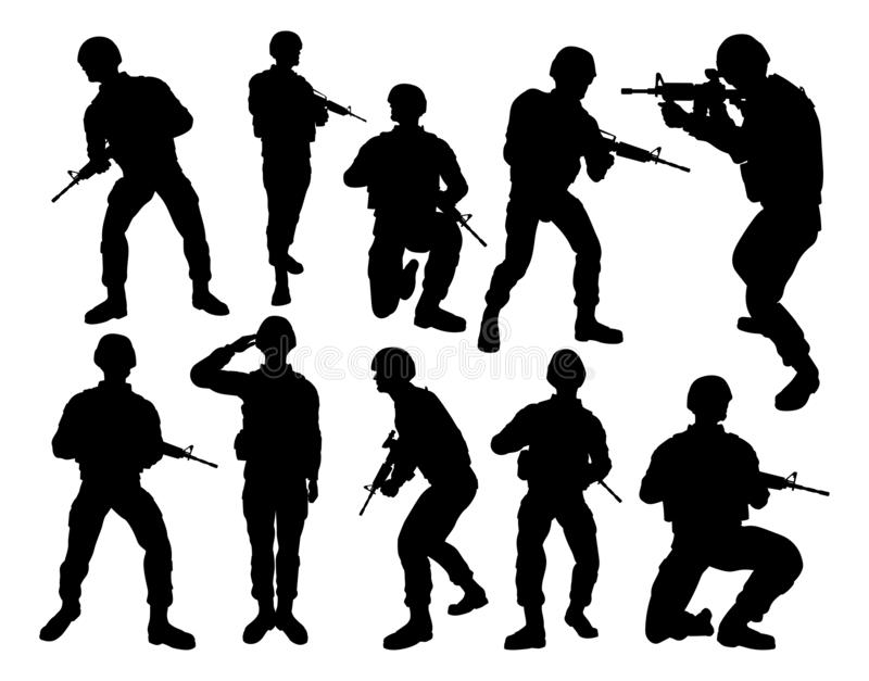 Soldat Silhouettes royaltyfri illustrationer
