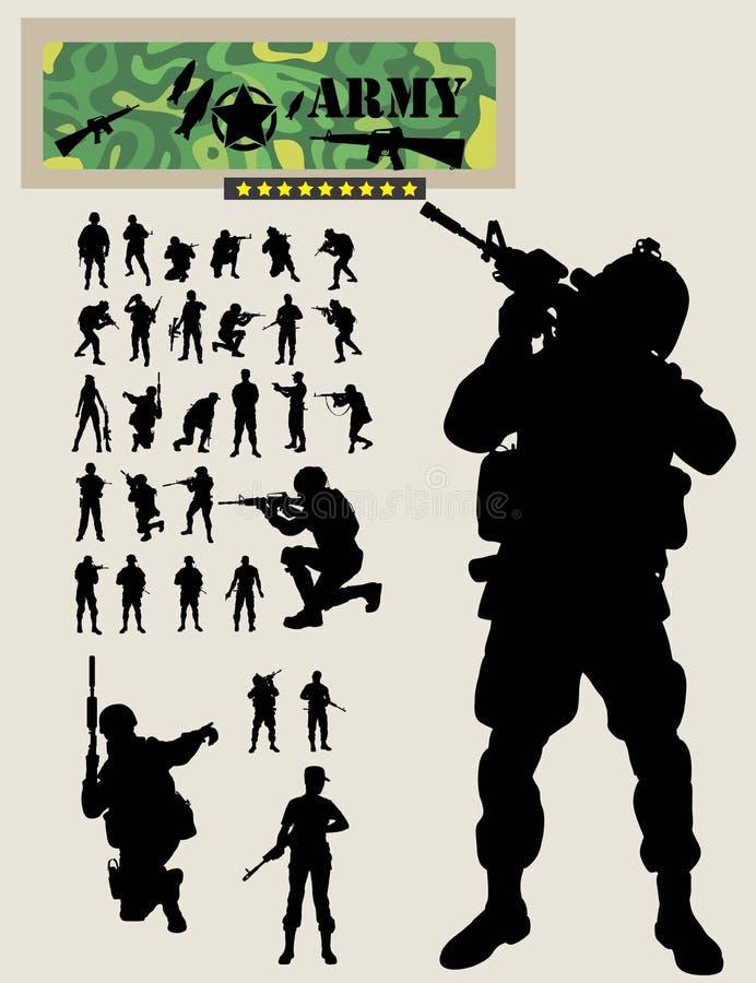 Soldat Silhouettes vektor illustrationer