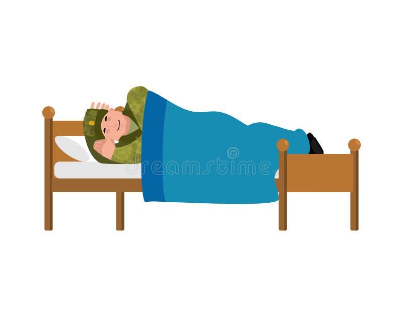 Soldat Sleeping sur le lit Militaires en Russie dormante illustrati illustration stock