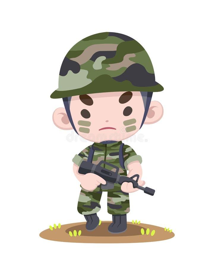 Soldat thaïlandais mignon tenant l'illustration forte de bande dessinée illustration libre de droits