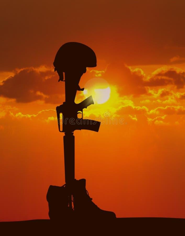 Soldat tombé image stock
