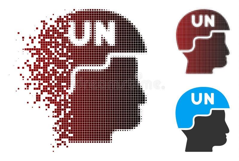 Soldat tramé de dissolution Helmet Icon des Nations Unies de pixel illustration de vecteur