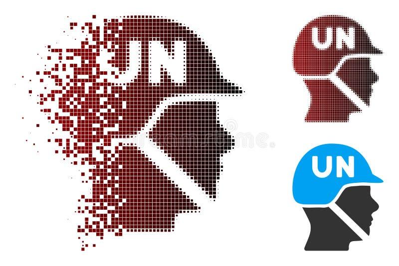 Soldat tramé Helmet Icon des Nations Unies de pixel mobile illustration libre de droits