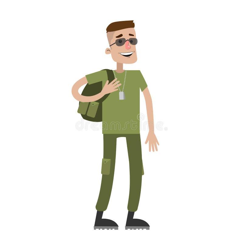 Soldat ut ur arbetsuppgift vektor illustrationer
