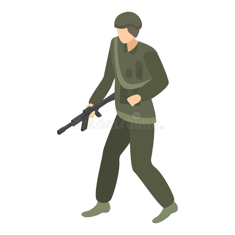 Soldatbefälhavaresymbol, isometrisk stil stock illustrationer