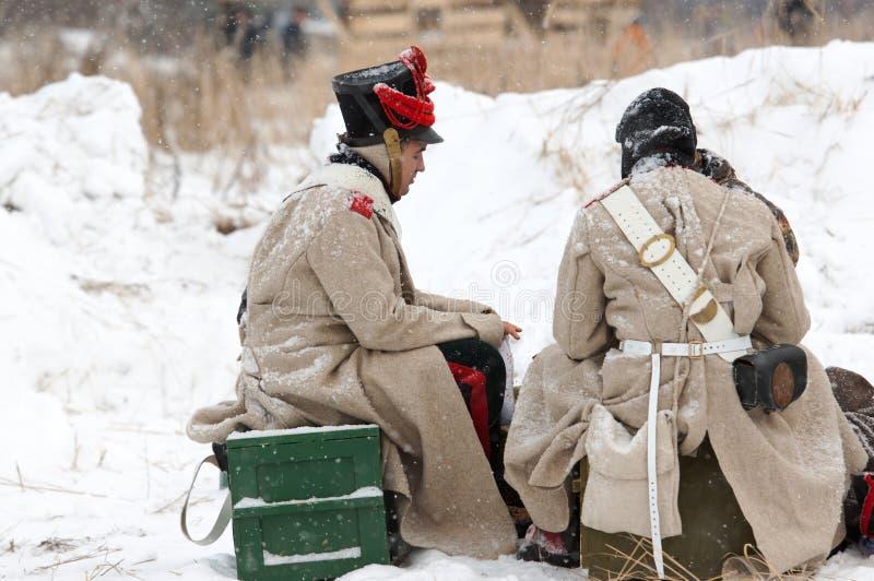 Soldaten auf dem Rest stockbild