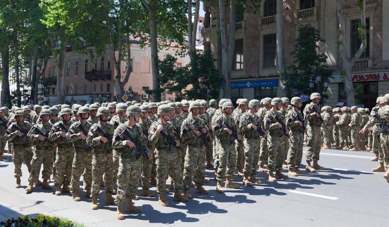 Soldaten auf Militärparade. Tbilisi. Georgia. lizenzfreies stockbild