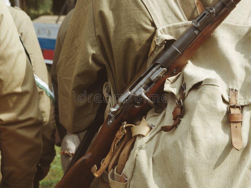 Soldaten in der Uniform während des Bürgerkrieges Munition, Rucksack, stockfoto