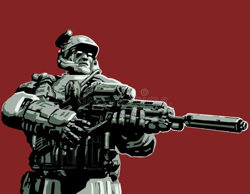 Soldaten i dräkten med ett plasmagevär också vektor för coreldrawillustration vektor illustrationer
