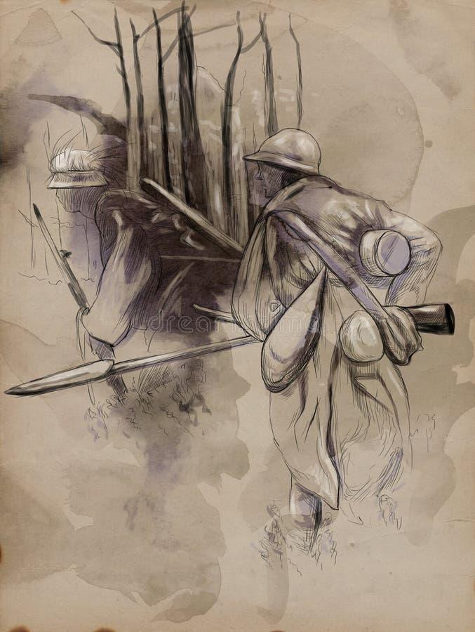 Soldaten med ett gevär i träna - räcka utdragen pic royaltyfri illustrationer