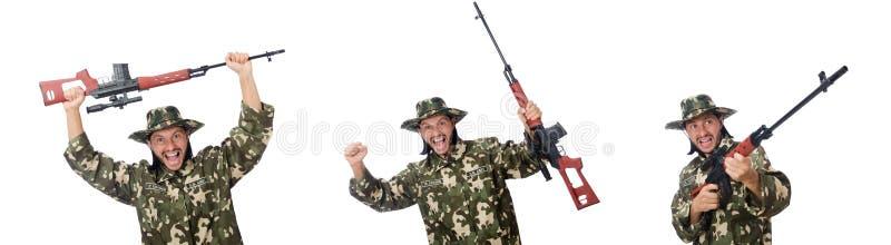 Soldaten med vapen på vit royaltyfria foton