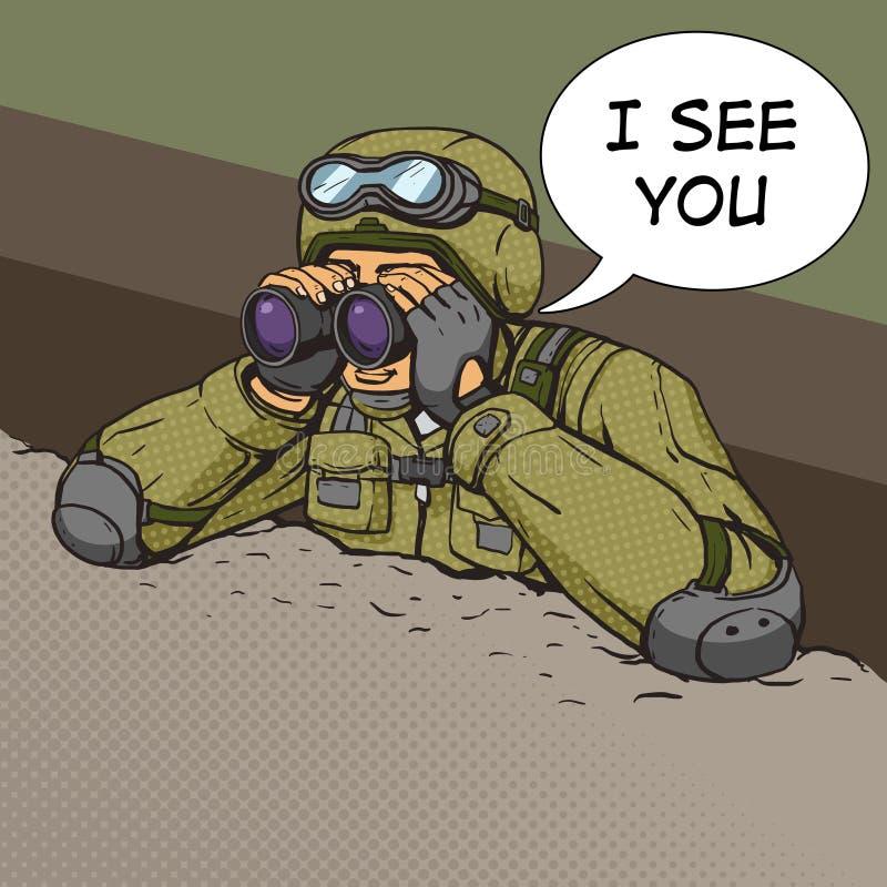 Soldaten ser till och med kikare från dikena royaltyfri illustrationer