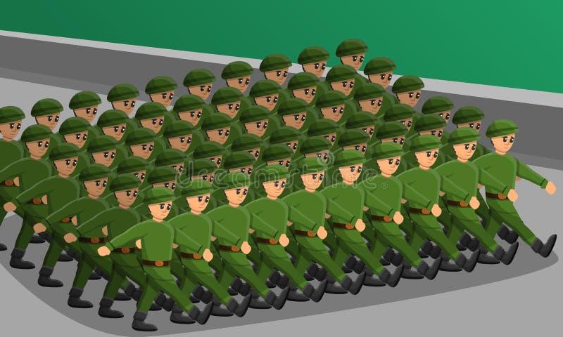 Soldaten ståtar begreppsbanret, tecknad filmstil royaltyfri illustrationer