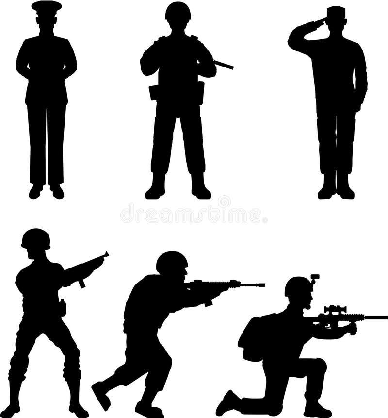 soldater royaltyfri illustrationer