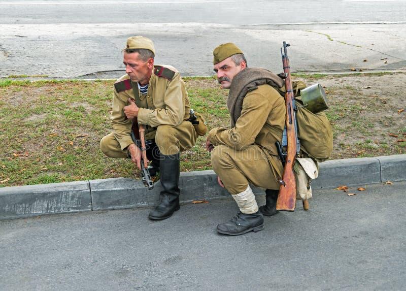 Soldater av den röda armén royaltyfria foton