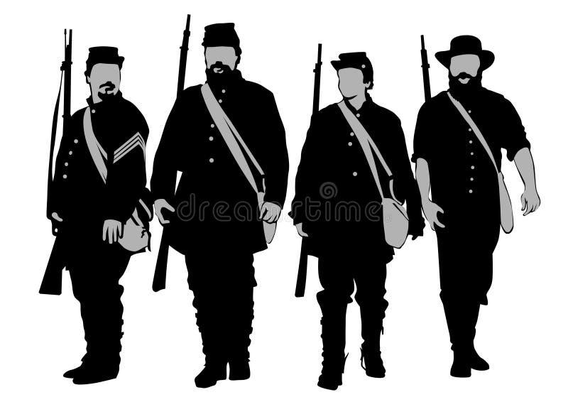 Soldater av inbördeskrig tre royaltyfri illustrationer