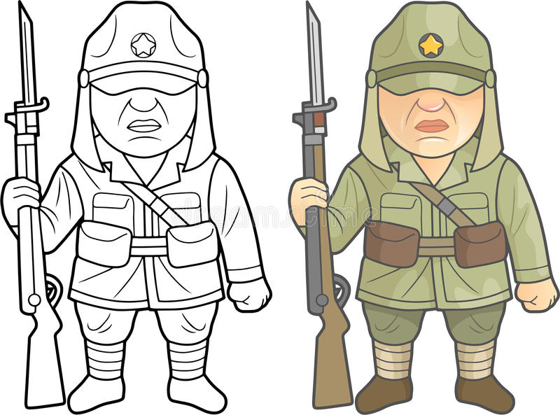 Soldater för andra världskrig av den japanska armén stock illustrationer