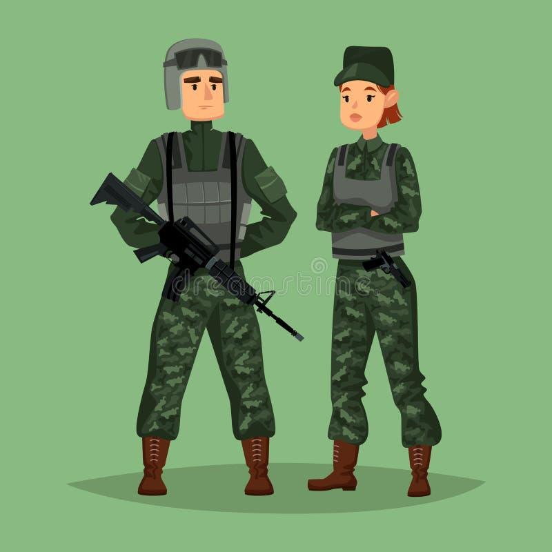 Soldater för militär man och kvinna, specialförband stock illustrationer