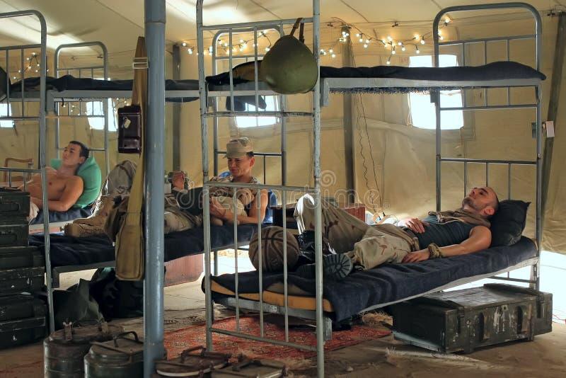 Soldater i baracker royaltyfria foton
