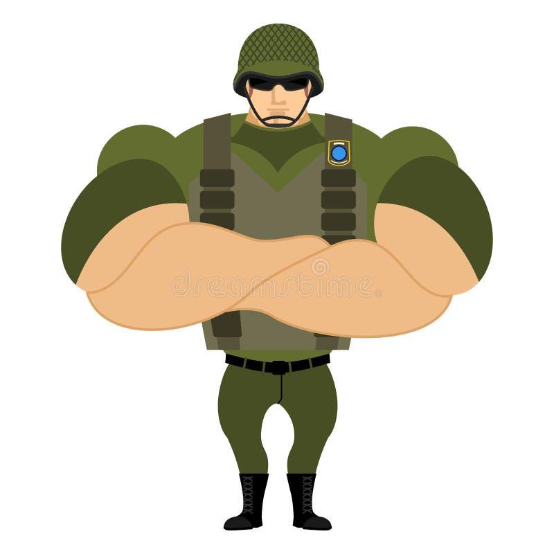 Soldater i hjälm för militär för luftvärnseldväst stock illustrationer
