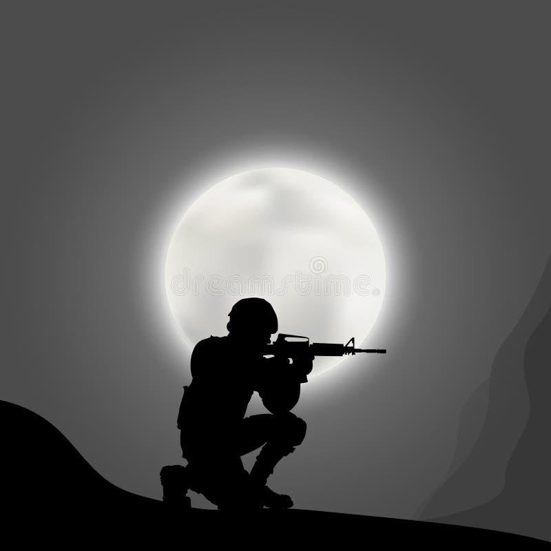 Soldater med ett vapen på bakgrunden av den stora månen stock illustrationer