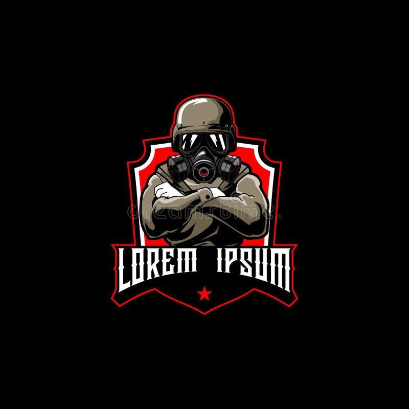 Soldater med mallen för logo för emblem för gasmasktecknad filmvektor royaltyfri bild