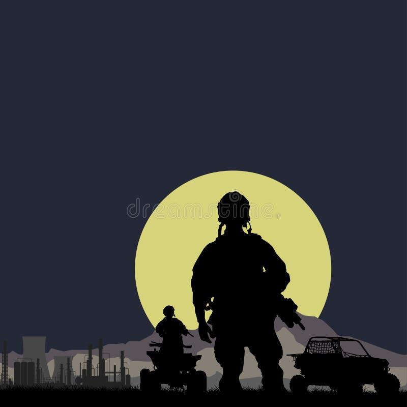 Soldater med oljeväxten på nattbakgrunden stock illustrationer